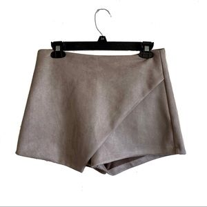 LF Seek the Label taupe faux suede envelope shorts